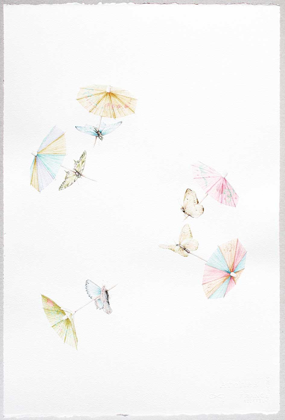 © LARS-HINRICHS, UNTITLED (BUTTERFLIES), 2012, AQUARELLE, 56 X 38 CM