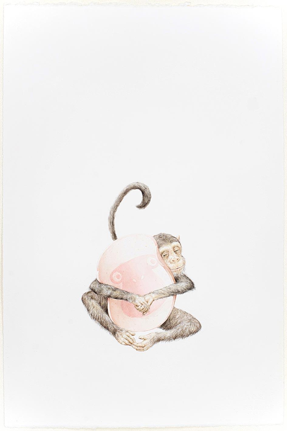© LARS HINRICHS, UNTITLED (MONKEY), 2011, AQUARELLE, 56 X 38 CM
