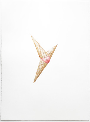 © LARS HINRICHS, UNTITLED (ICE CREAM), 2016, AQUARELLE 77 X 57 CM