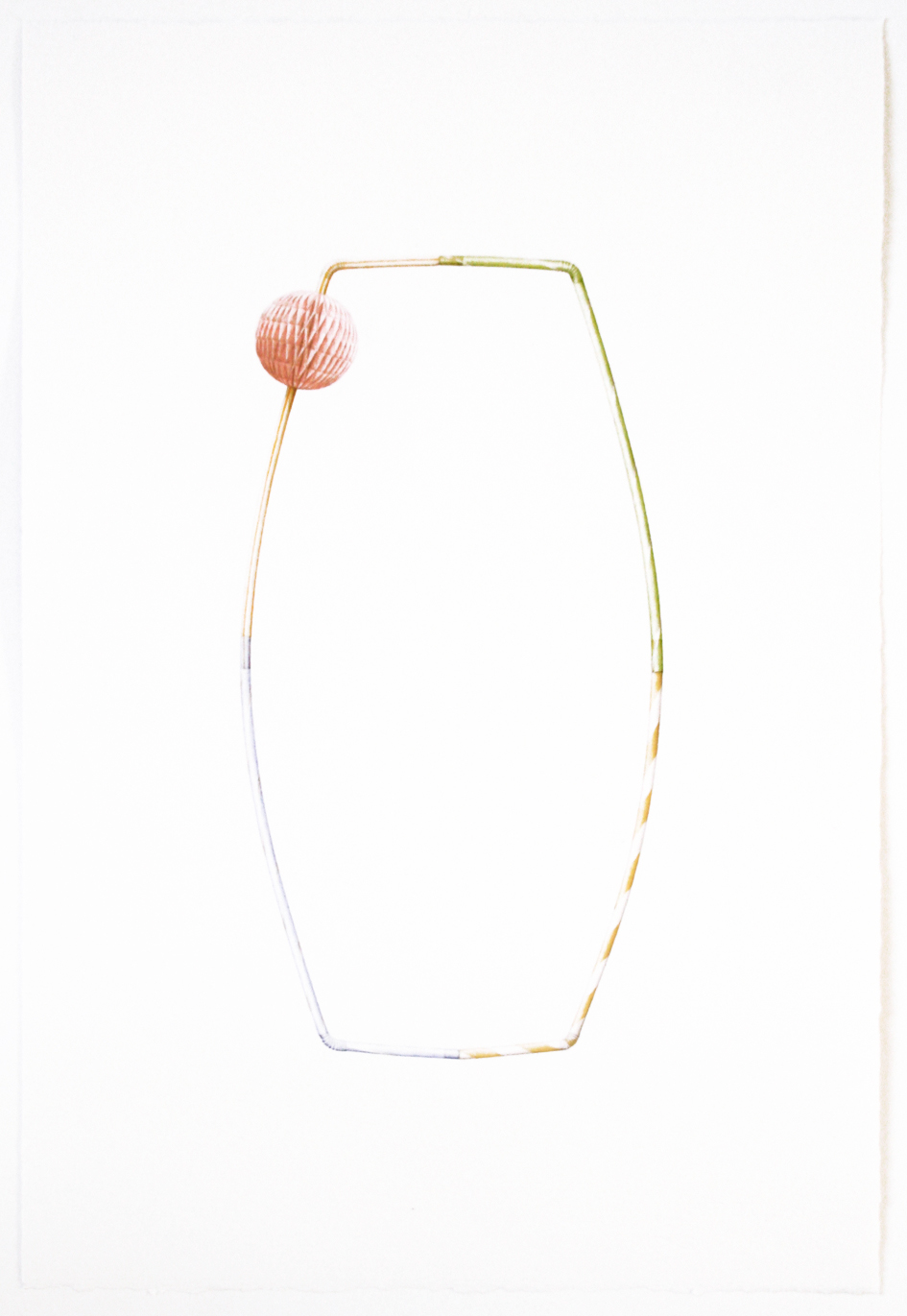 © LARS HINRICHS, UNTITLED (STRAW RING), 2016, AQUARELLE, 56 X 38 CM